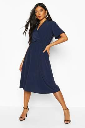 boohoo Ruffle Sleeve Woven Midi Dress
