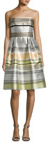 Carmen Marc Valvo Striped Strapless Satin A-Line Dress, Sand/Multicolor