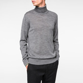 Paul Smith Men's Grey Marl Merino-Wool Roll-Neck Sweater