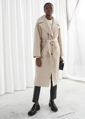 And other stories Oversized Wool Blend Belted Coat