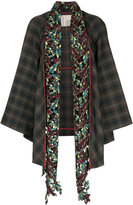 Antonio Marras checked jacket with embroidered floral collar