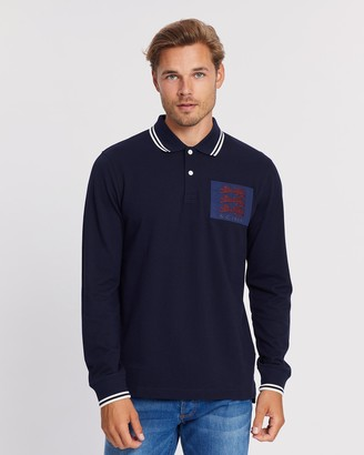 Kent And Curwen Long Sleeve Three-Lion Crest Polo