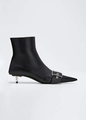 Balenciaga Belted Low-Heel Leather Booties