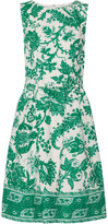 Oscar de la Renta Belted Printed Stretch-cotton Canvas Dress - Jade