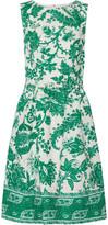 Oscar de la Renta Belted Printed Stretch-cotton Canvas Dress - Jade