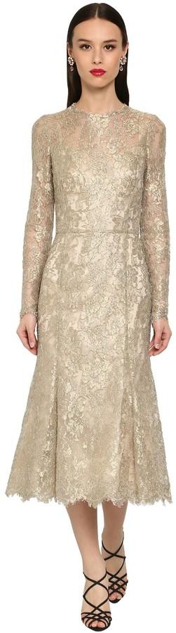 Dolce & Gabbana Sheer Chantilly Lace Lame Midi Dress