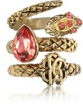 Roberto Cavalli Goldtone Metal Triple Ring w/Red Crystals
