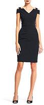Adrianna Papell Off the Shoulder V-Neck Cold Shoulder Crepe Dress