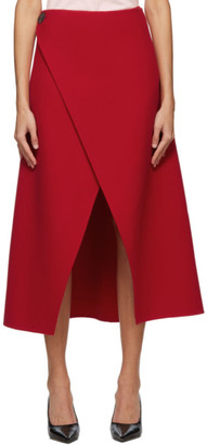 Givenchy Red Wool Wrap Skirt