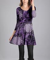 Aster Purple Medallion A-Line Dress - Plus Too