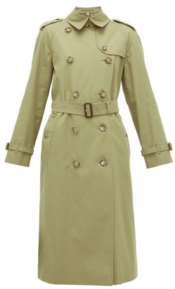 Burberry Waterloo Cotton-gabardine Trench Coat - Womens - Olive Green