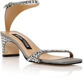 Sergio Rossi Silver Suede Jeweled Sandals