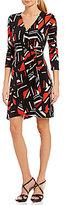 Calvin Klein Geometric Print Matte Jersey Faux Wrap Dress