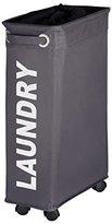 Wenko 3450115100 Laundry bin Corno Grey - laundry basket, capacity 11.36 gal, Polyester, 7.3 x 23.6 x 15.7 inch, Dark grey