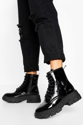 boohoo Chunky Cleated Platform Hiker Boots
