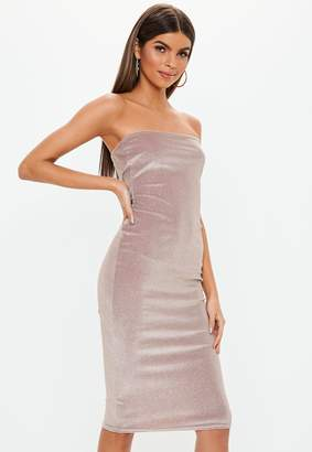 Missguided Pink Glitter Velvet Bandeau Bodycon Dress