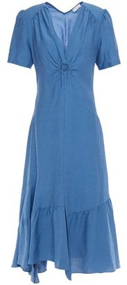 Sandro Tamara Asymmetric Cutout Ring-embellished Twill Midi Dress