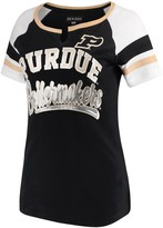 New Era Women's 5th & Ocean by Black Purdue Boilermakers Baby Jersey Split Scoop Neck Ringer T-Shirt