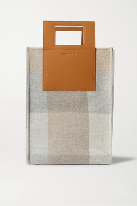 HOLZWEILER + Net Sustain Carrybag Large Leather-trimmed Checked Wool And Cashmere-blend Tote - Camel