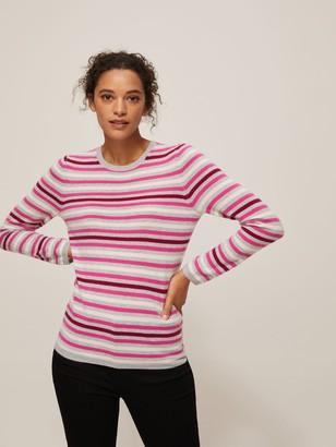 John Lewis & Partners Cashmere Stripe Crew Neck Sweater