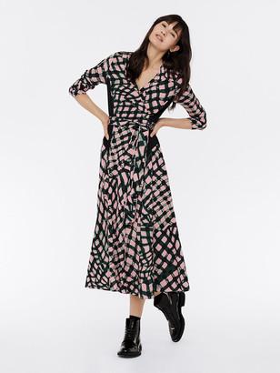 Diane von Furstenberg Mindy Silk Crepe de Chine Midi Wrap Dress