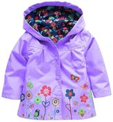 FEOYA Children's Raincoat Waterproof Girls Outwear Hooded Jacket -130cm