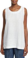 eskandar Round-Neck Linen Shell, White