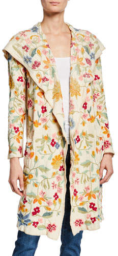 Johnny Was Floral-Embroidered Open-Front Hooded Duster