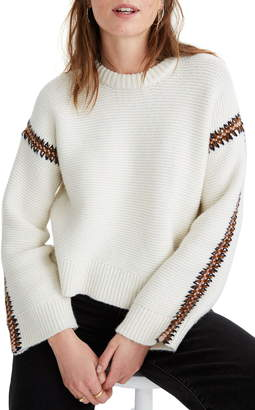Madewell Crochet Trim Westford Pullover Sweater