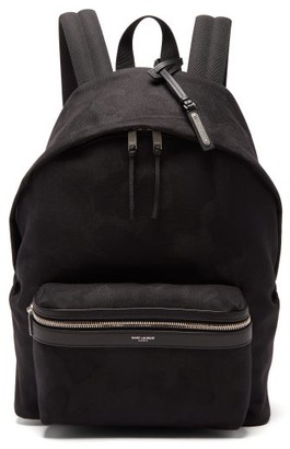 Saint Laurent City Leather-trimmed Backpack - Mens - Black