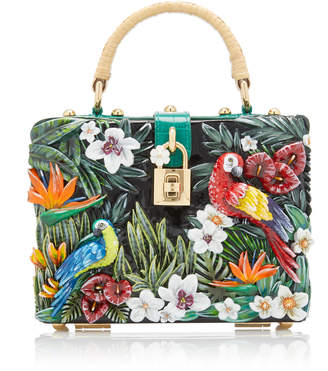 Dolce & Gabbana Embellished Leather And Resin Top Handle Bag