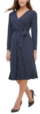 Tommy Hilfiger Pinstriped Jersey Tie-Waist Dress