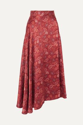 HARMUR - Floral-print Silk-satin Wrap Midi Skirt - Burgundy