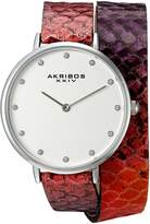 Akribos XXIV AK923SSPK Women's Quartz Metal and Leather Automatic Watch, Pink