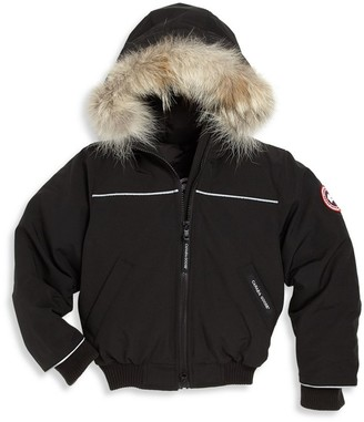Canada Goose Little Kid's Grizzly Coyote Fur-Trim Down Bomber Jacket