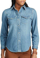 Chaps Petite Denim Western Cotton Button-Down Shirt