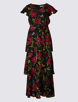 Per Una Embellished Floral Print Tiered Maxi Dress