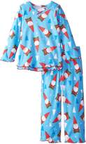 Sara's Prints Little Girls' Ruffle Top and Pant, Gnomes Soft Blue