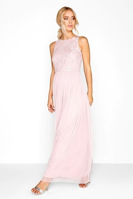 Little Mistress Pink Embroidered Maxi Dress