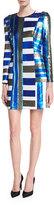 Diane von Furstenberg Long-Sleeve Crewneck Sequin Mini Cocktail Dress