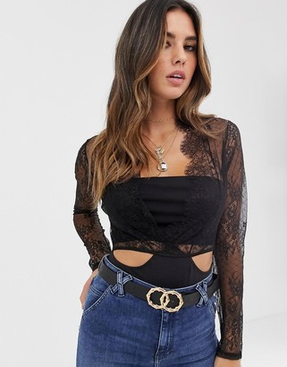 ASOS DESIGN Cleotha long sleeve delicate lace & jersey bodysuit
