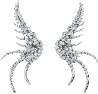 YEPREM White Gold Diamond Wing Earrings