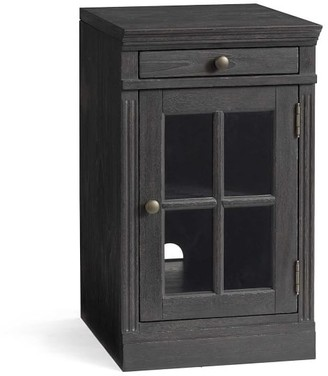 Pottery Barn Livingston Single Glass Door Cabinet, Brown Wash