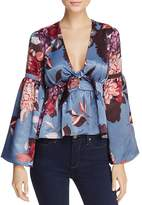 Olivaceous Floral Print Bell Sleeve Top