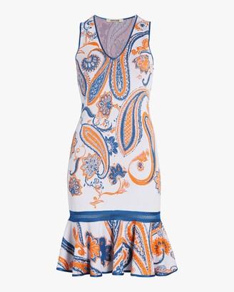 Roberto Cavalli Paisley Jacquard Crochet Dress
