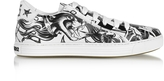 DSQUARED2 Black & White Tattoo Printed Leather Men's Sneakers
