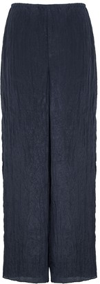 Vince Navy Wide-leg Crinkled Satin Trousers
