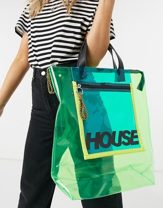 House of Holland transparent tote bag with zip detail in green
