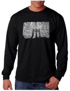 LA Pop Art Men's Word Art Long Sleeve T-Shirt- Brooklyn Bridge