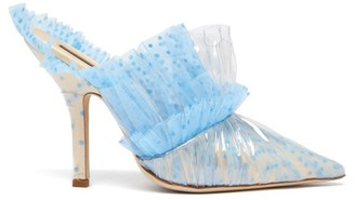 Midnight 00 Ruched Polka-dot Tulle & Pvc Mules - Womens - Light Blue